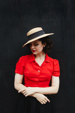 Matilda Delves BRUNETTE WOMAN IN RED BLOUSE WITH STRAW HAT Women