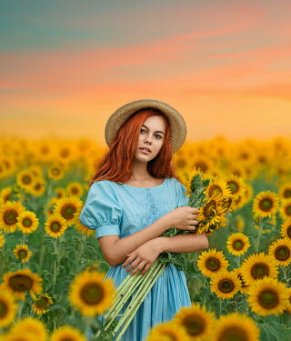 Lilia Alvarado GIRL WITH RED HAIR IN SUNFLOWER FIELD AT SUNSET Women