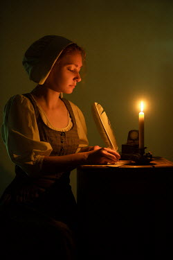 Magdalena Russocka historical maid writing by candlelight Women