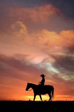 Magdalena Russocka SILHOUETTED WOMAN RIDING HORSE IN COUNTRYSIDE AT SUNSET Women