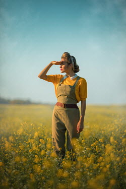 Ildiko Neer WARTIME WOMAN WATCHING IN SUMMERY FIELD Women