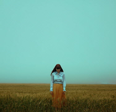 Felicia Simion WOMAN WITH LONG HAIR IN WHEAT FIELD Women