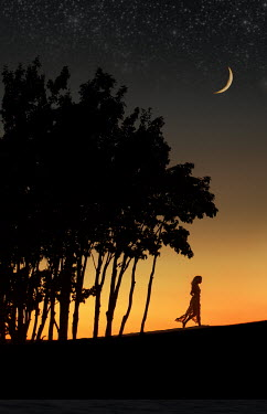 Terry Bidgood WOMAN WALKING BY TREES AT SUNSET WITH MOON AND STARS Women