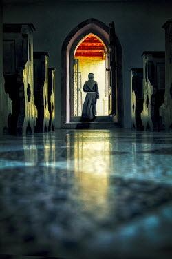 Yolande de Kort MONK WALKING THROUGH DOOR INSIDE CHURCH Men