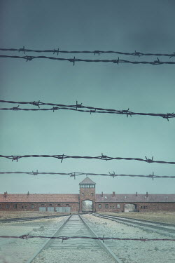 Joanna Czogala CONCENTRATION CAMP WITH TRAIN TRACKS AND BARBED WIRE Miscellaneous Buildings