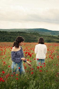 Kerstin Marinov TWO BRUNETTE WOMEN IN POPPY FIELD Women