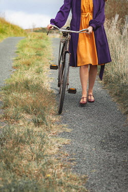 Marie Carr GIRL WITH BICYCLE ON COUNTRY ROAD Women