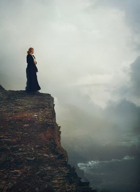 Mark Owen HISTORICAL WOMAN ON CLIFF BY FOGGY OCEAN Women