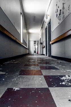 Elly De Vries EMPTY DERELICT CORRIDOR IN BUILDING Interiors/Rooms