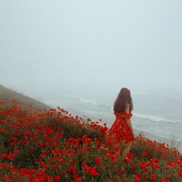 Felicia Simion WOMAN WITH RED DRESS AND FLOWERS WATCHING SEA Women