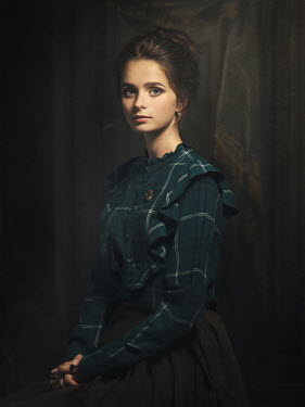 Dmytro Baev HISTORICAL BRUNETTE WOMAN IN GREEN BLOUSE Women