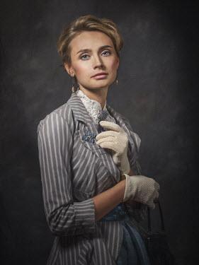 Dmytro Baev BLONDE HISTORICAL WOMAN IN STRIPED JACKET Women