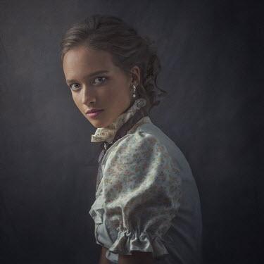 Dmytro Baev YOUNG BRUNETTE HISTORICAL GIRL IN FLORAL DRESS Women