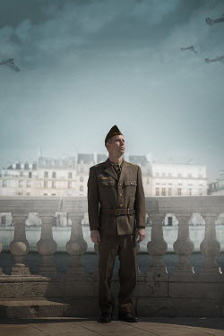 Ildiko Neer Soldier in uniform standing on balcony in Paris