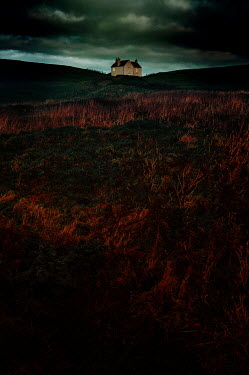 Nic Skerten REMOTE HOUSE ON MOORS WITH STORMY SKY Houses