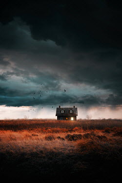 Sandra Cunningham Old house isolated on prairie fields of tall grass