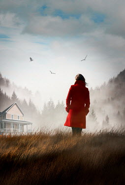 Sandra Cunningham GIRL IN COAT WATCHING HOUSE IN MISTY COUNTRYSIDE Women