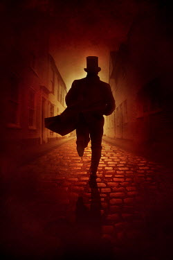 Silas Manhood HISTORICAL MAN IN TOP HAT RUNNING ON COBBLED STREET Men