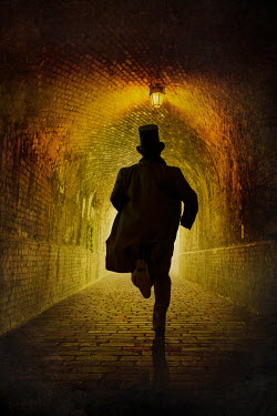 Silas Manhood HISTORICAL MAN WITH TOP HAT RUNNING IN TUNNEL Men