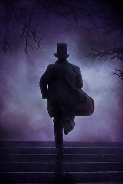 Silas Manhood HISTORICAL MAN IN TOP HAT RUNNING UP STEPS Men
