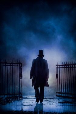 Silas Manhood HISTORICAL MAN WITH TOP HAT WALKING THROUGH GATES Men