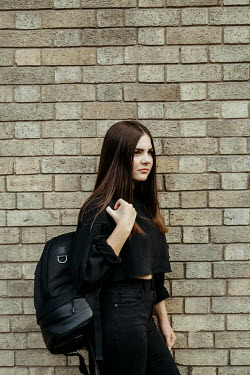 Shelley Richmond GIRL WITH RUCKSACK OUTSIDE BUILDING Women