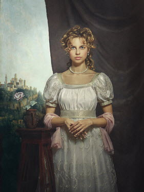 Dmytro Baev Portrait of young woman in Victorian dress