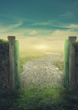 Elena Schweitzer Gate and cobbled footpath at sunrise