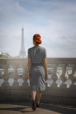 Ildiko Neer Vintage woman walking on terrace in Paris
