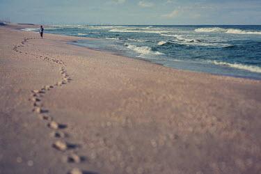 Lisa Bonowicz Footprints of woman walking on beach