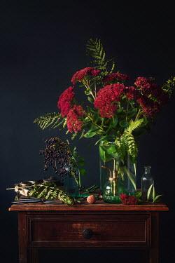 Magdalena Wasiczek Flowers in vase on wooden drawers