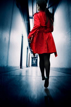 Silas Manhood WOMAN WITH RED COAT RUNNING IN CORRIDOR Women