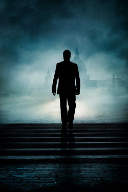 Silas Manhood SILHOUETTED MAN WALKING IN FOGGY CITY WITH CATHEDRAL Men