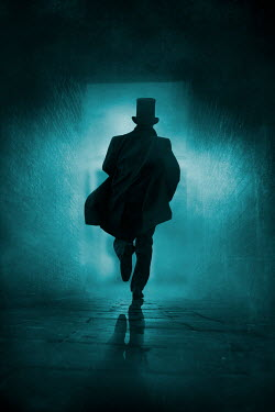 Silas Manhood HISTORICAL MAN WITH TOP HAT RUNNING IN ALLEYWAY Men