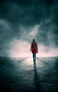 Silas Manhood WOMAN WITH RED COAT ON ROAD IN STORMY COUNTRYSIDE Women