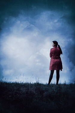 Silas Manhood WOMAN IN RED COAT IN STORMY COUNTRYSIDE Women