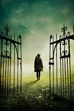 Silas Manhood WOMAN IN FIELD WITH OPEN WROUGHT IRON GATES Women