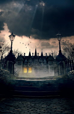 Lee Avison creepy gothic mansion at night with window lights