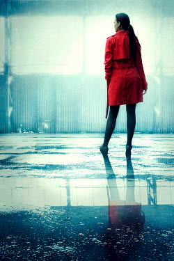 Silas Manhood WOMAN WITH RED COAT IN FLOODED WAREHOUSE Women
