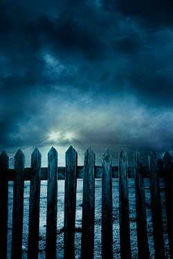 Silas Manhood WOODEN FENCE AND CAR LIGHTS IN STORMY NIGHT Cars
