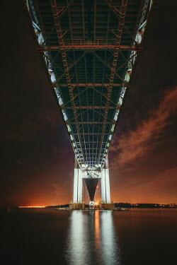 Evelina Kremsdorf Verrazano Bridge from below at sunset in Brooklyn, New York City, USA