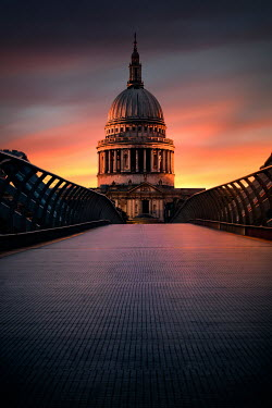 Evelina Kremsdorf Millennium Bridge and St. Paul's Cathedral at sunset in London, England