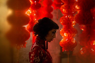 Holly Leedham Gothic young woman under Chinese lanterns