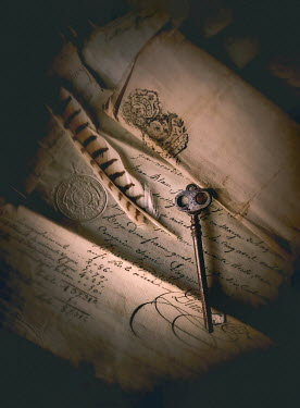 Jane Morley Quill and key on parchment