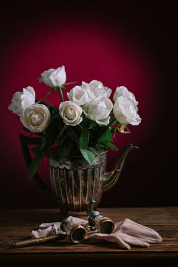 Magdalena Wasiczek ROSES IN SILVER TEAPOT WITH GLOVES AND OPERA GLASSES Flowers