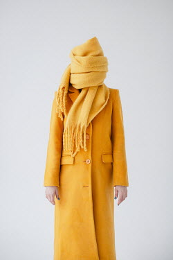 Dasha Pears WOMAN IN YELLOW COAT COVERED WITH SCARF Women