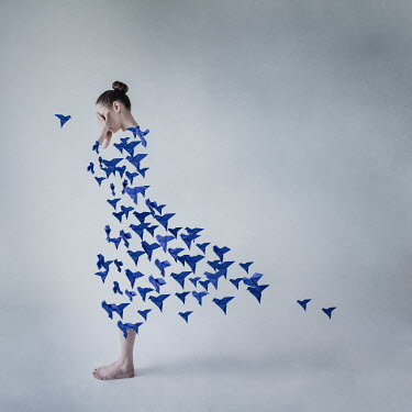 Dasha Pears SURREAL WOMAN WITH DRESS OF PAPER BIRDS Women