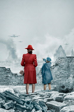 Stephen Mulcahey MOTHER AND SON WATCHING PLANES BOMBING CITY Children