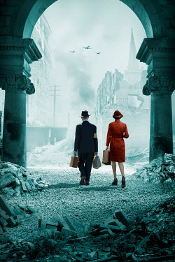 Stephen Mulcahey RETRO COUPLE WALKING IN BOMB DAMAGED CITY WITH AEROPLANES Couples