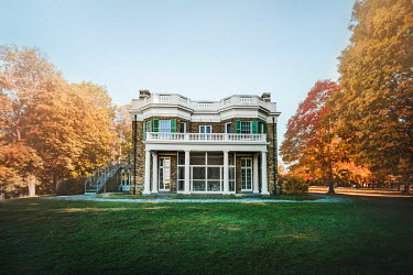 Evelina Kremsdorf House and autumn trees in Hyde Park, Hudson Valley, New York, USA